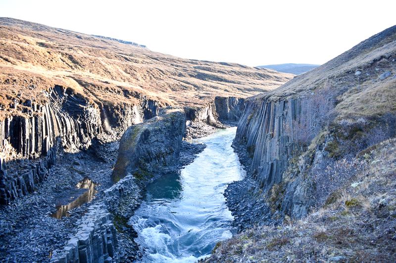 Basalt Column Canyon in Jökuldalur valley