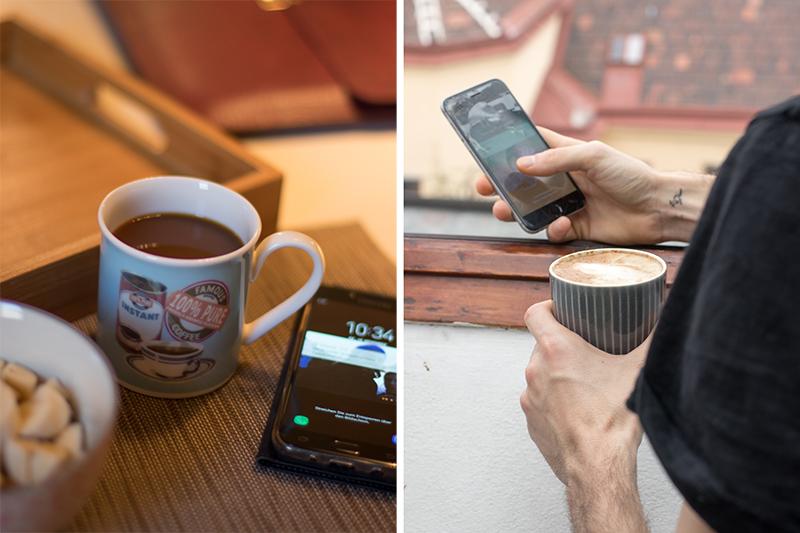 Gegenüberstellung von seiner und ihrer Kaffeetasse und Handy