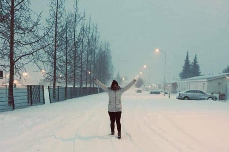 Mitten im Schneesturm