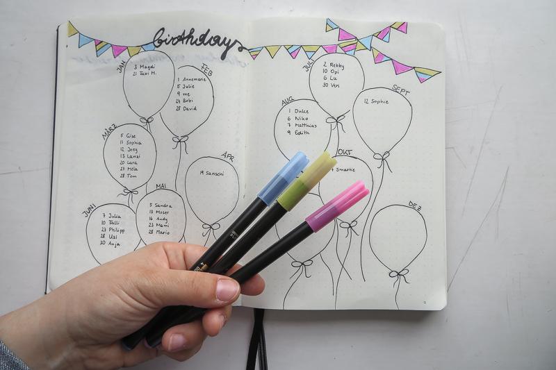 Mit Luftballonen, Girlanden und verschiedenen Farben wurde der Geburtstagskalender im Bullet Journal gestaltet.