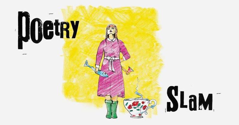 Banner des Poetry Slams der Argekultur: Mädchen mit rosa Kleid vor gelbem Hintergrund