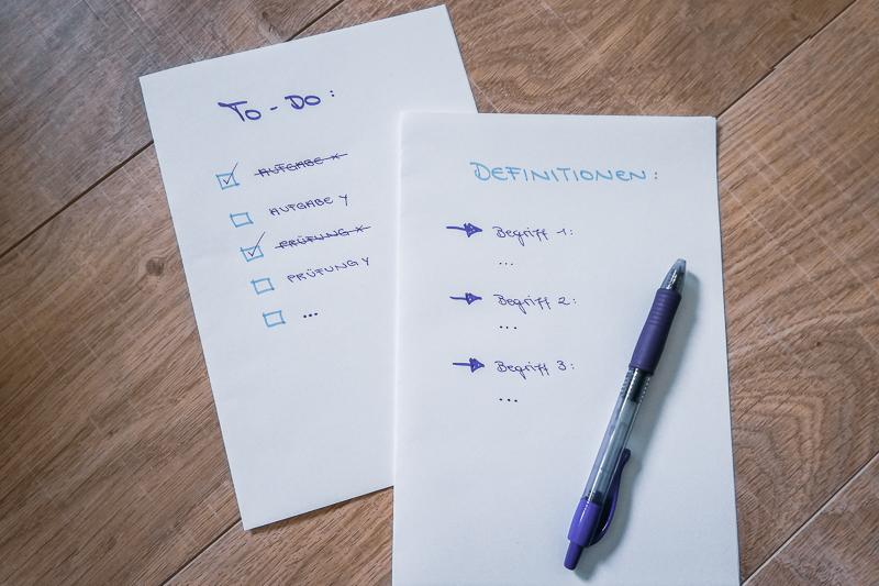Lernen Notizen Organisation
