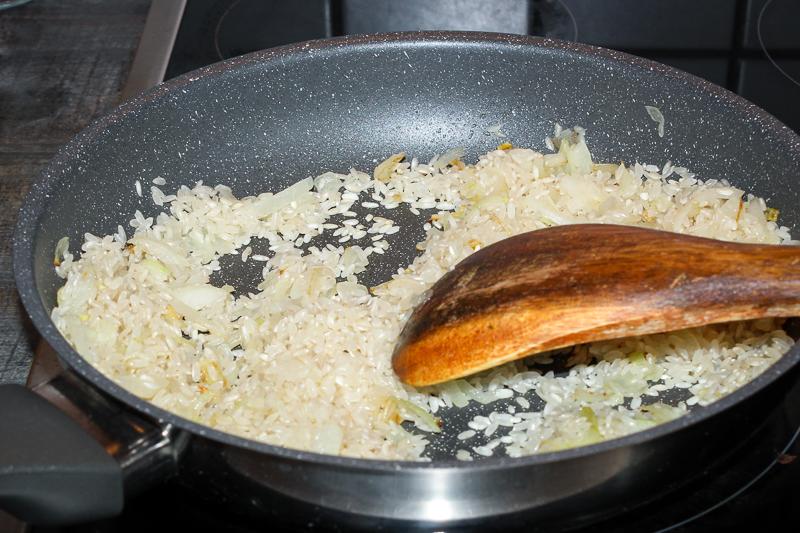 Schwammerl-Risotto Vorbereitung Reis