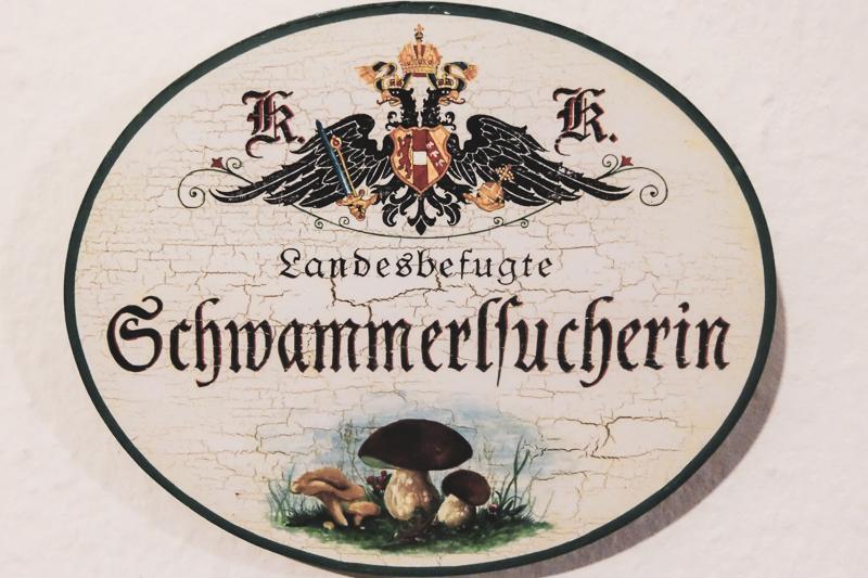 """Tipps und Tricks für's Schwammerlsuchen: Ein Schild mit der Aufschrift """"Landesbefugte Schwammerlsucherin"""" hängt an einer Wand."""