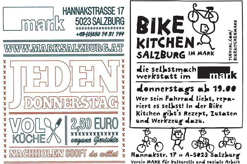 Radfahren Salzburg MARK Salzburg Bike Kitchen Plakat