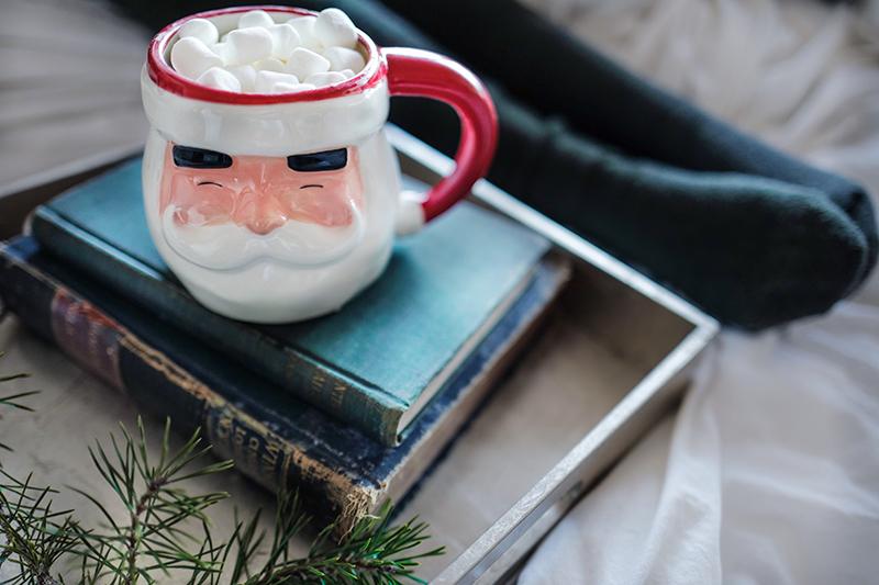 Bücher und Weihnachtsmanntasse